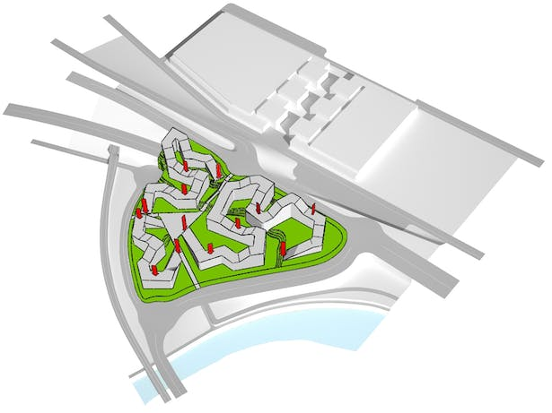 Strategic points are pushed down through sloping roofs in order to create a ring in which the junction is the ground
