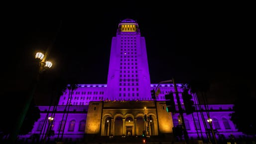 "Los Angeles City Hall pays tribute to hometown basketball legend Kobe Bryant. Image via <a href=""https://twitter.com/MayorOfLA/status/1221656543847825408"">@MayorOfLA</a>/Twitter"