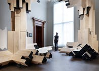 Gilles Retsin Architecture combines timber construction with Augmented Reality and Automation at the Royal Academy.
