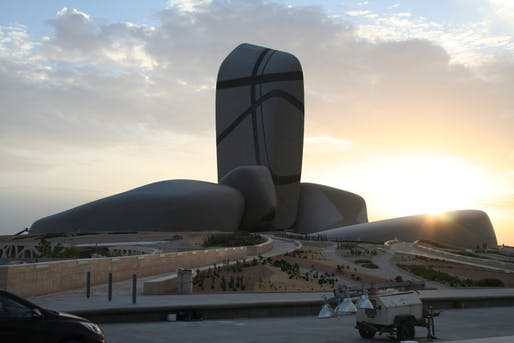 Undergoing its soft opening phase: the King Abdulaziz Center for World Culture in Dhahran, Saudi Arabia. Image: Snøhetta, via theartnewspaper.com.