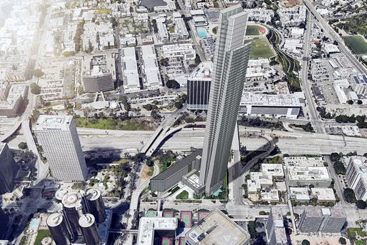 Aerial-view rendering of the proposed tower at 333 South Figueroa Street. Image: DiMarzio | Kato Architecture, via la.curbed.com.