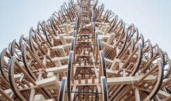 Hello Wood uses 365 sleighs to build an 11-meter Christmas tree in Budapest