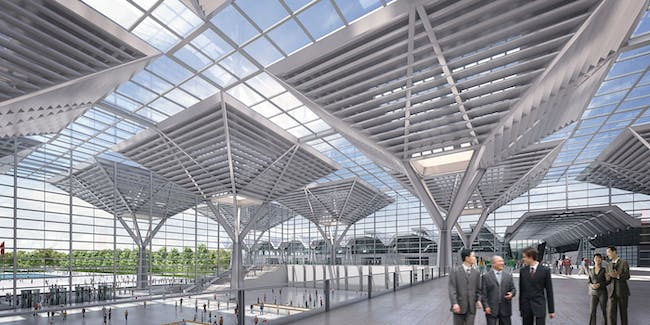Filigree shade roofs in the entrance hall (Image: gmp · von Gerkan, Marg and Partners · Architects)