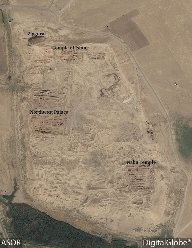 This DigitalGlobe satellite photo from August 31, 2016 shows the Ziggurat and Temple of Ishtar at Nimrud still intact. Image via ASOR Cultural Heritage Initiatives Facebook page.