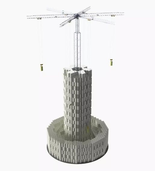 Simulation of a large-scale Energy Vault stacking crane. Image credit: Energy Vault, via Quartz.
