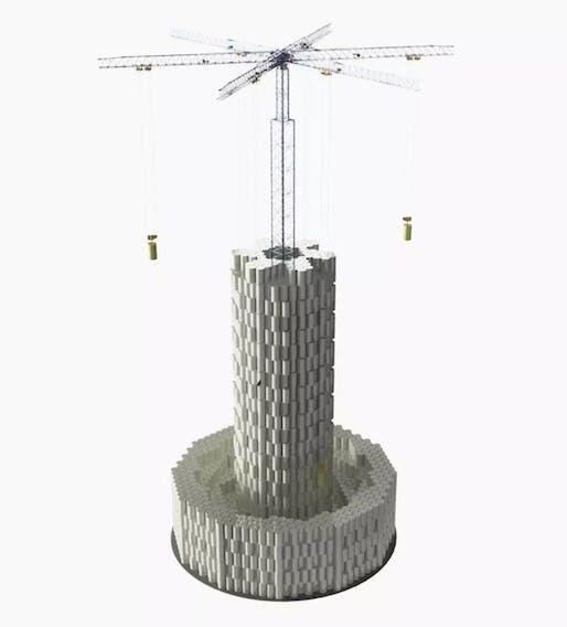 Simulation of a large-scale Energy Vault stacking crane. Image credit: Energy Vault, via Quartz.