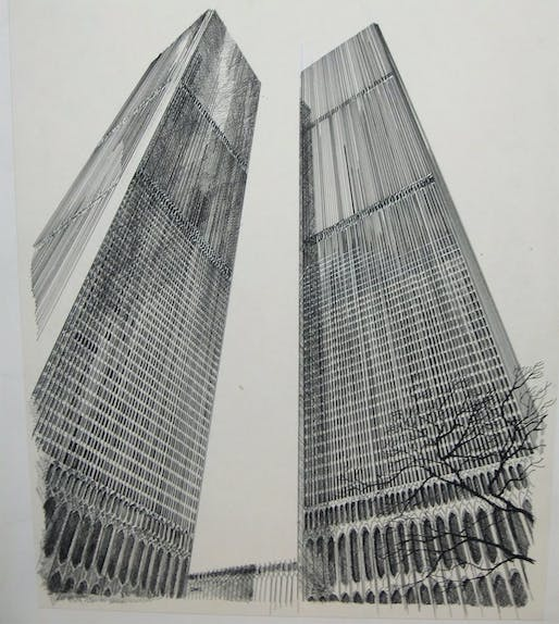 Drawing of the WTC Twin Towers by Carlos Diniz (1928–2001). Image courtesy Mark Cuban.