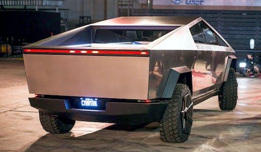 The Tesla Cybertruck at its unveiling on Nov. 21, 2019. Image: reddit user Kruzat via Wikimedia Commons.