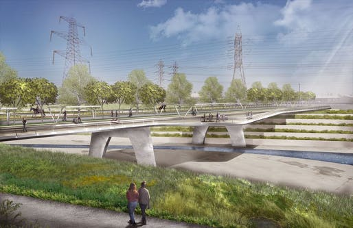 Los Angeles River rendering of a bridge at Rio Hondo Park.