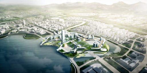 'Unicorn Island' competition entry by Morphosis in Chengdu, China. Image: Morphosis.