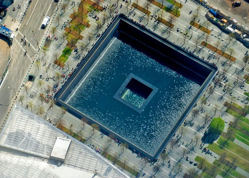"""The World Trade Center South Tower 9/11 Memorial Pool as seen in 2016. Photo: Ron Cogswell/<a href=""""https://www.flickr.com/photos/22711505@N05/26575952521"""">Flickr</a> (CC BY 2.0)"""