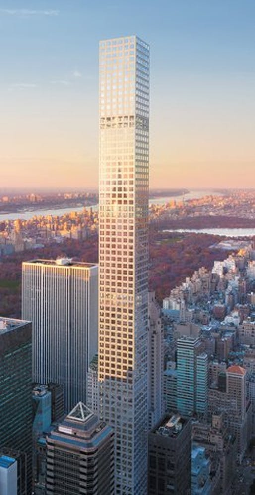 Rendering of the Rafael Viñoly-designed 432 Park Avenue condominium tower, now New York City's second tallest building. (Image: dBox/CIM Group/Macklowe Properties; via nybooks.com)