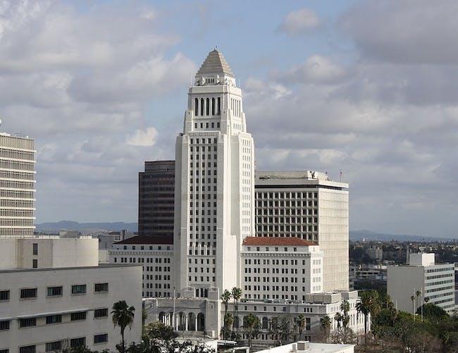 LA City Hall view from the Walt Disney Concert hall via Wikimedia Commons