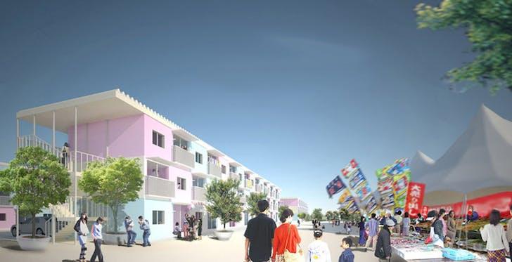 Shigeru Ban Architects' 2011 tsunami-inspired, shipping-container temporary housing (courtesy designboom.com).