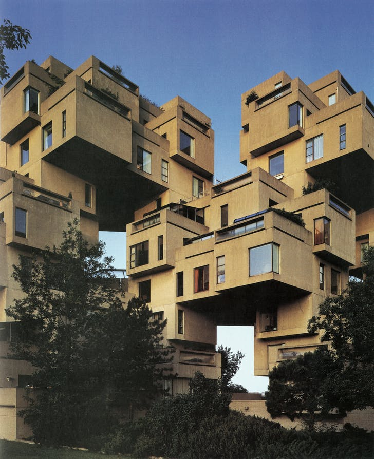 Habitat 67: a view of units from below. Credit: Timothy Hursley courtesy of Safdie Architects