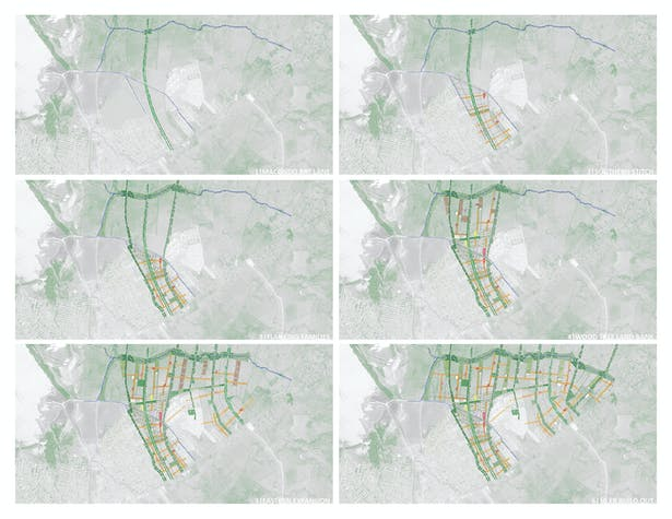 Phasing Strategy. Dryfo Urbanism is a territorial responsive plan that evolves per population demands. Wood trees are used as a land banking strategy for future urban nodes of cultural institutions, community centers, schools and agricultural land