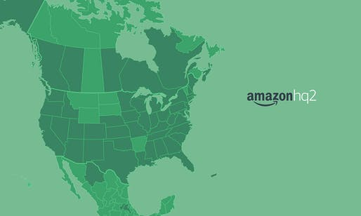 This map shows all states, provinces, districts, and territories across North America from where Amazon had received a proposal. Image: Amazon.