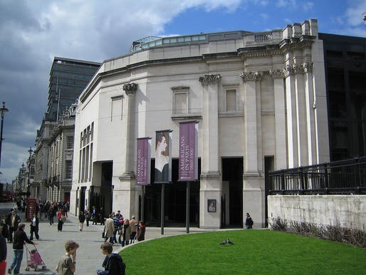 Recently published meeting minutes from 1987 reveal: The row over the partly embedded Corinthian column on the Trafalgar Square facade almost pushed architect Robert Venturi out of the London National Gallery's Sainsbury Wing project. (Photo: Richard George; Image via Wikipedia)