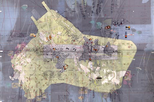 """David's Island Strategic Plot Drawing made: 1996-97 Drawing size: 24"""" x 36"""" Materials: Mylar, graphite, ink, tape, found imagery, x-rays, foil, photographs, transfer letters + trasnfer film, cut paper. © Perry Kulper"""