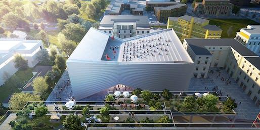 Tirana Theatre and Masterplan aerial. Image by BIG | Bjarke Ingels Group.