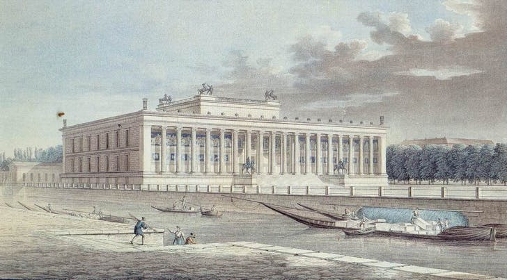 An engraving the Altes Museum by Friedrich Alexander Thiele, ca. 1830. Via: Wikipedia