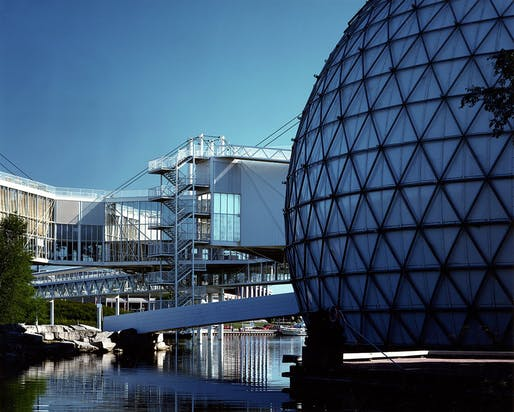 View of the Ontario Place Pods and Cinesphere. Photo credit: Zeidler Partnership Architects.