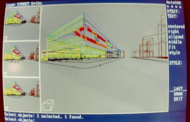 Autocad 10, 11 and 12 was the only choice to produce construction documents. To produce renderings was a different story due to the software and hardware limitations. I created a 3D wireframe , made a print out of it and I finished at home using airbrush, color pencils, and some artistic skills.