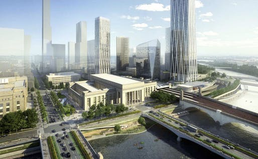 A rendering of the proposed Station Plaza view from east. Image © SOM