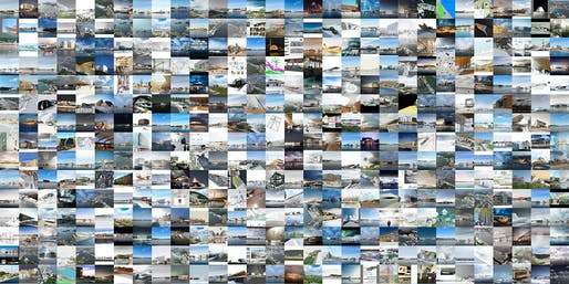 A portion of the 1,715 Stage One entries from the Guggenheim Helsinki Design Competition. Image Courtesy Malcolm Reading Consultants.