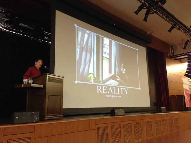 Wright's keynote address at ACADIA 2014. Photo credit: Amelia Taylor-Hochberg.