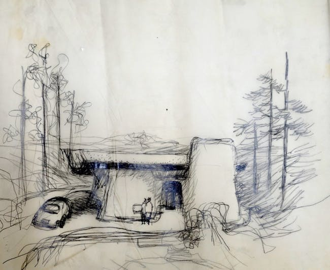 Frank Gehry, Greber Studio, Sketch1967, unbuilt, Beverly Glen, California, Frank Gehry Papers at the Getty Research Institute, © Frank O. Gehry.