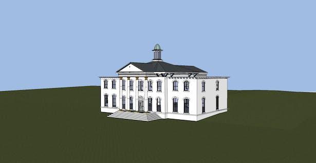 Perspective Image of Scketchup Model - Original Mansion Entrance