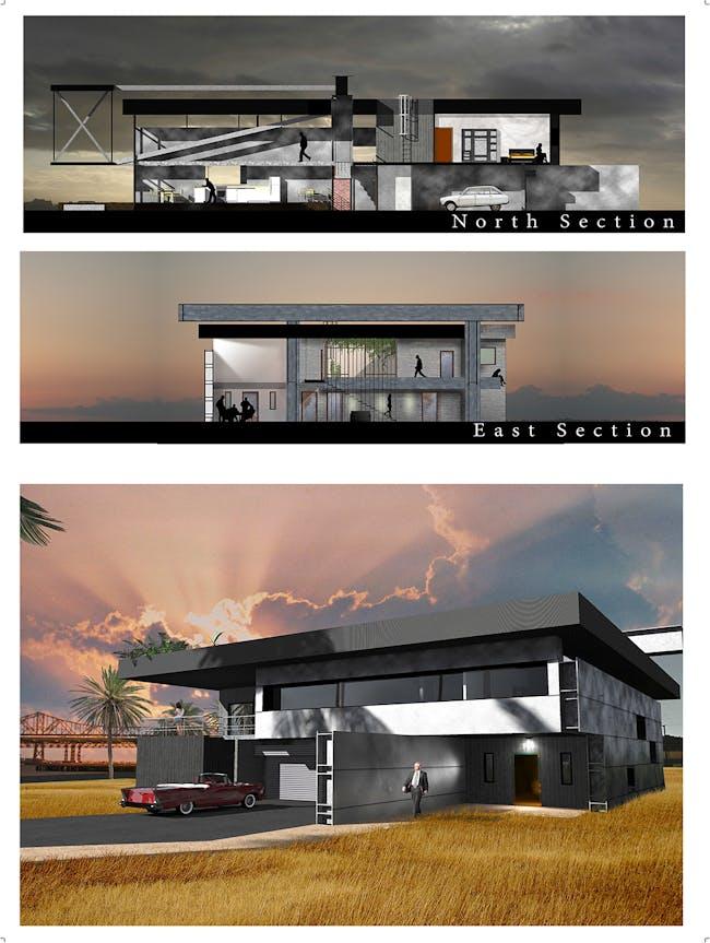 "Community Vote: 'The Bay Bridge House"" by Romain Caba (University of Kansas / National superior school of architecture of Paris Val de Seine, France). Image courtesy of Bay Bridge House."
