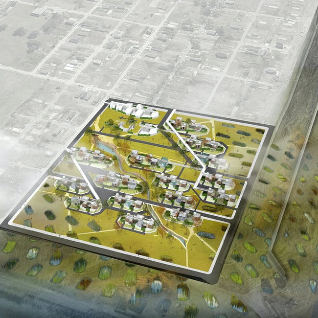 Daily Scenario: Marshland as an extended residential grid to retain soil. Image courtesy of diji-lab.