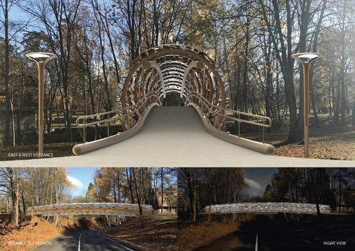 """3RD PRIZE - """"THE BARK BRIDGE - A suspended tree trunk walkway."""" PROJECT AUTHORS: Michel Boucquillon, Donia Maaoui 