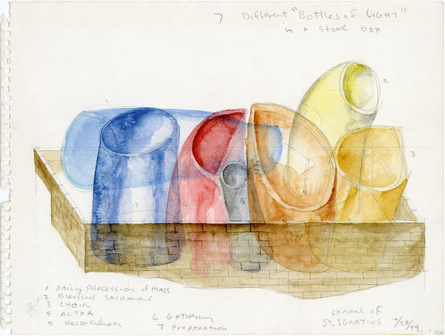 School of Art and Art History, University of Iowa, Iowa City, Iowa, 1999-2006; concept watercolor. © Steven Holl Architects. Reprinted from Steven Holl (Phaidon, 2015).