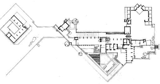 Frank Lloyd Wright's Taliesin West floor plan in Arizona. Photo: Great Buildings.