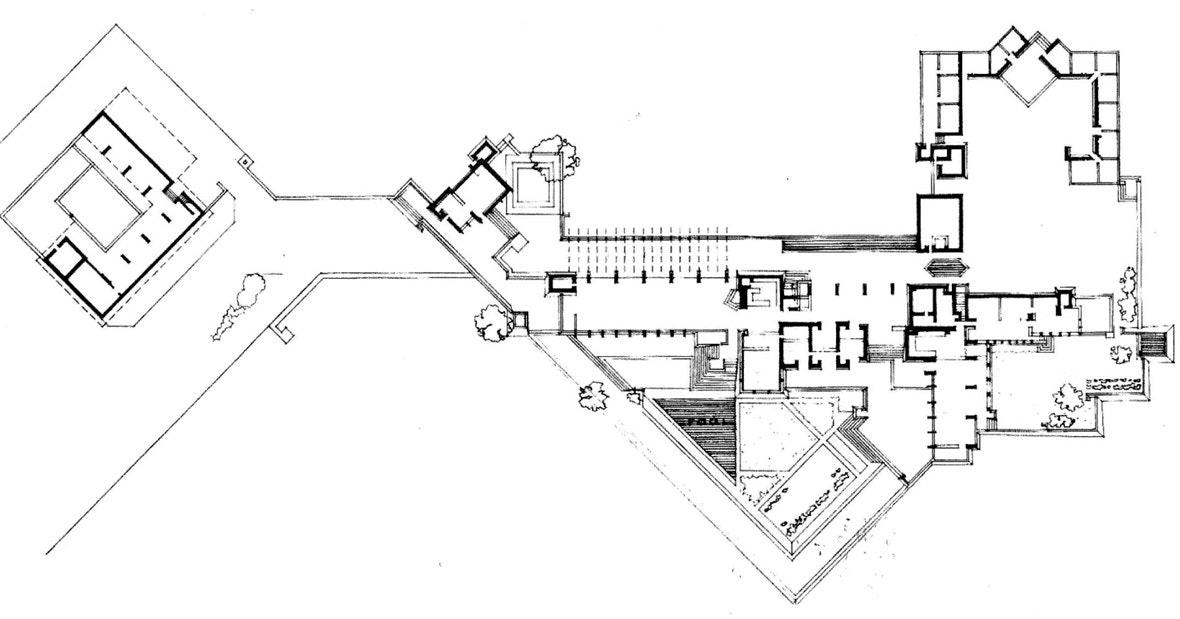 Frank Lloyd Wrightu0027s Taliesin West Floor Plan In Arizona. Photo: Great  Buildings.
