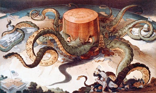'Next!' 1904 political cartoon skewing Standard Oil's monopolistic tactics. Created by Udo J. Keppler. Image via wikipedia.org.