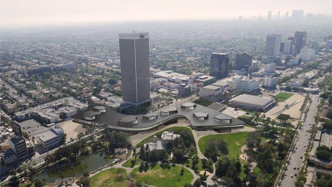 Renderings of LACMA's new building over Wilshire Boulevard. (Atelier Peter Zumthor & Partner)