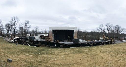 Collapsed Merriweather Post Pavilion roof during renovation. Image: roofmonitor/Twitter.