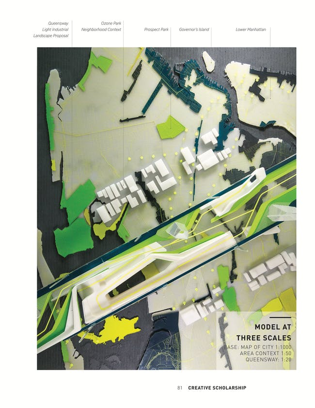 Figure 1. Model at three scales. The base, which depicts Queens, New York, at 1:1,000 scale, shows streets, the subway, parks, and light industrial zones. The surrounding neighborhood is modeled at 1:50 and is layered directly on top of the base. The project proposal is modeled at 1:20 and features parks, circulation graphics, and other architectural elements. Photo by Phil Arnold, courtesy of JAE.