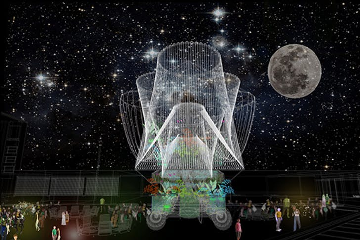 A night-time render of COSMO, which comprises a complex water filtration system. A rendering of COSMO by Andrés Jaques and the Office for Political Innovation, which will host the annual Warm Up series of concerts at MoMA PS1 and opens this Tuesday. Credit: Andrés Jaque / the Office for Political