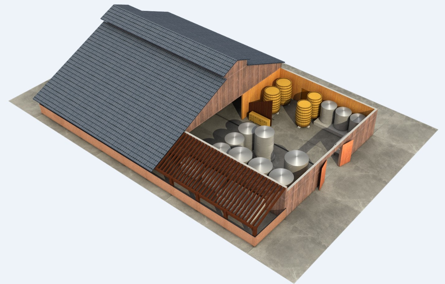 3D Rendering Model of Winery along with Texturing & Lighting | Hi-Tech CADD Services