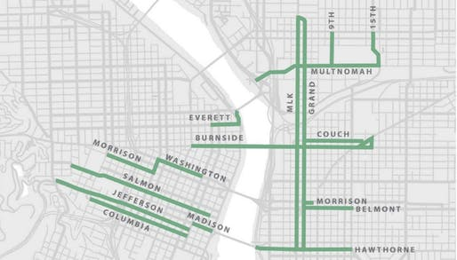 Map showing potential downtown Portland bus lane network. Image courtesy of PBOT / Regional ETC Pilot Program Candidate Enhanced Transit Locations.