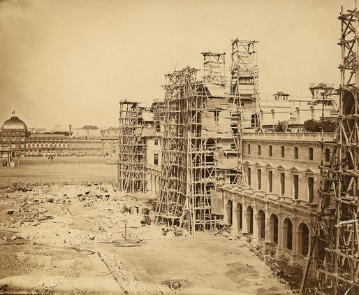 Historic photograph of the north wing of the New Louvre under construction in Paris, 1849. Credit: Edouard-Denis Baldus, RIBA Collections.