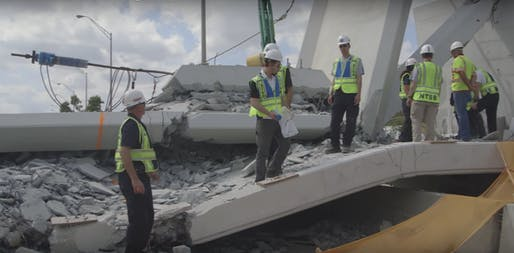 National Transportation Safety Board agents inspect the Florida State University bridge after its collapse on March 15, 2018. Image: NTSB.