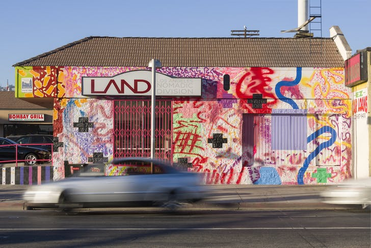 LAND's headquarters in Hollywood with the mural by Sarah Cain. Credit: LAND
