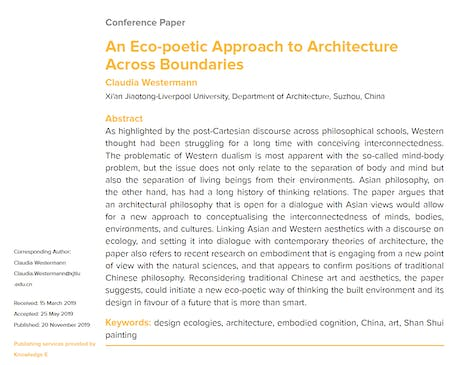 Published: 'An Eco-poetic Approach to Architecture Across Boundaries' by Claudia Westermann. Available from: https://www.researchgate.net/publication/337365927_An_Eco-poetic_Approach_to_Architecture_Across_Boundaries