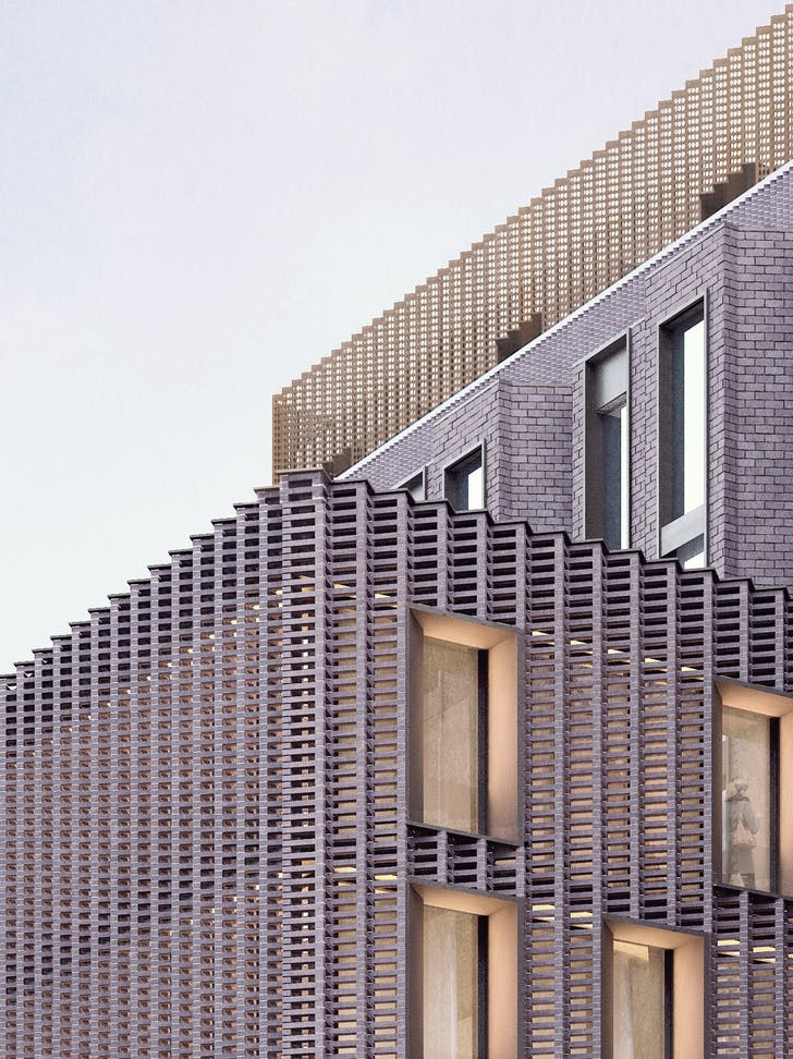 A render of York House which has a new contemporary self supporting perforate brick lattice created using the original engineering brick.